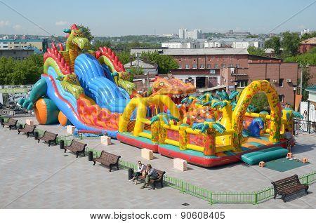 irkutsk, Russia-June,18 2014:Children's inflatable amusement on city street