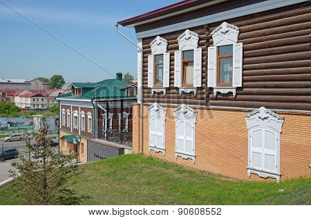 Irkutsk, Russia-June,18 2014: Irkutsk, Russia-June,18 2014: A two-storey log houses in the historica
