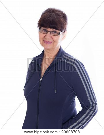 Mature good looking woman with glasses. Portrait