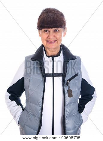 Pension age good looking woman in sport outfit against of white background