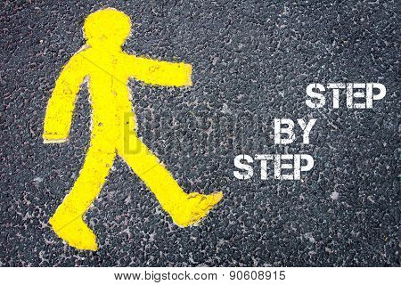 Yellow Pedestrian Figure Walking Towards Step By Step