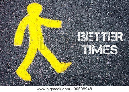 Yellow Pedestrian Figure Walking Towards Better Times