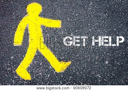 Yellow Pedestrian Figure Walking Towards Get Help
