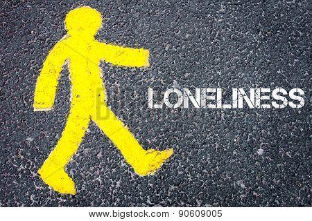 Yellow Pedestrian Figure Walking Towards Loneliness