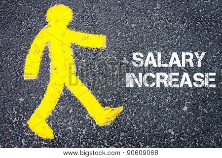 Pedestrian Figure Walking Towards Salary Increase