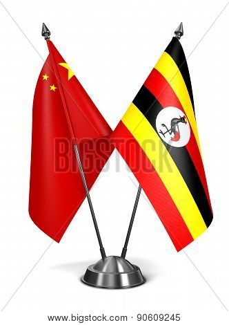 China and Uganda - Miniature Flags.