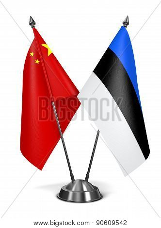 China and Estonia - Miniature Flags.