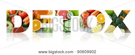 healthy eating and vegetarian diet concept - word detox with juice, fruits and vegetables