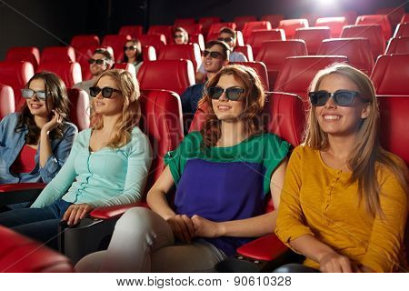 cinema, technology, entertainment and people concept - happy friends with 3d glasses watching movie in theater