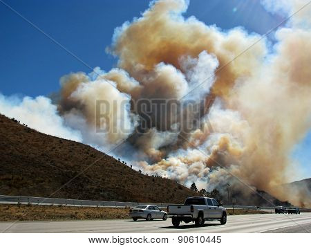SAN BERNARDINO CALIFORNIA - NOVEMBER 05: San Bernardino County California Devore Brush Fire 2012