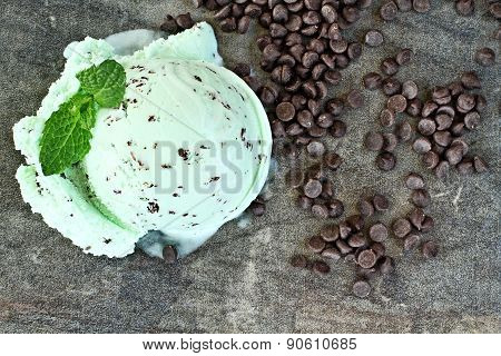 Mint Ice Cream Scoop And Chocolate Chips