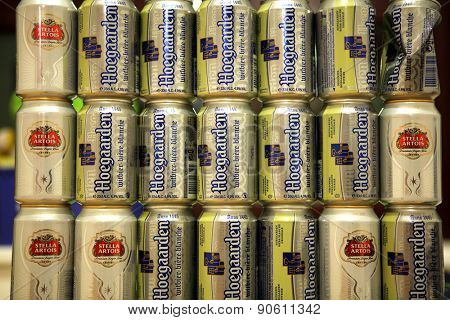 LEUVEN, BELGIUM - AUGUST 22, 2012: Empty beverage cans after Belgian beer Hoegaarden and Stella Artois pictured in Leuven, Belgium.
