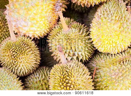 Many Fresh Durians On Asian Market