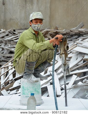 Man Working In A Ceramics Factory In Ha Long Bay Vietnam
