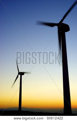 Windmills for electric power production, La Muela, Zaragoza Province, Aragon, Spain.