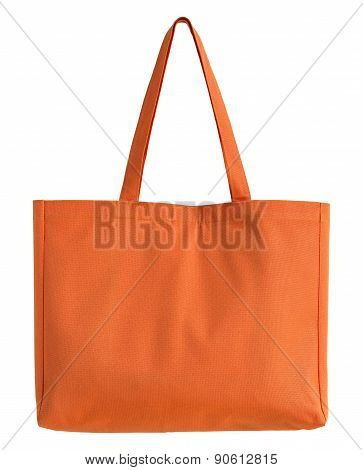 Orange Fabric Bag Isolated On White With Clipping Path