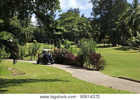 Golf car at the Constance Lemuria Resort.