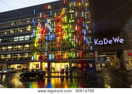 Famous Shopping Street Kurfürstendamm With Kadewe By Night