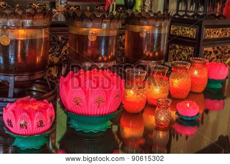Prayer Lamps In A Buddhist Temple