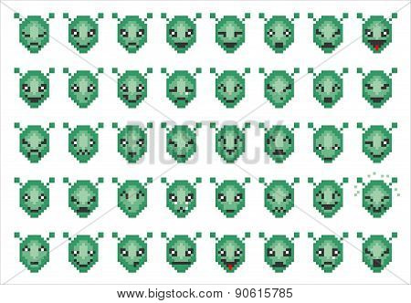Vector Icons Of Alien Faces