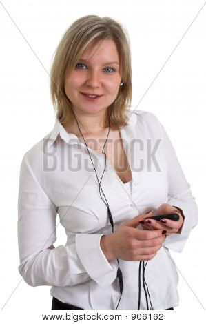 Smiling Girl Listening Music