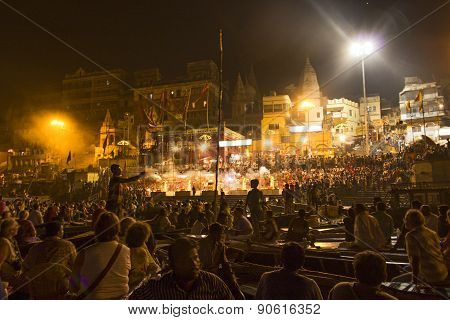 Colorful Main Ghat In Varanasi By Night