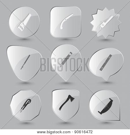 Angularly set. Raster glass buttons.