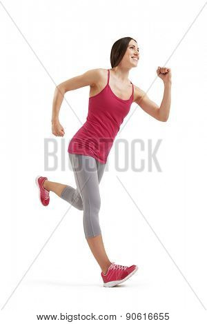 full-length photo of running smiley woman over white background