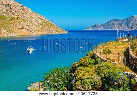 Greek Island Sea bay and yacht on anchor, Greece
