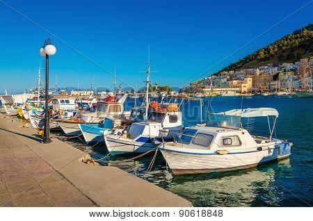Small boats in Greek port on Island, Greece