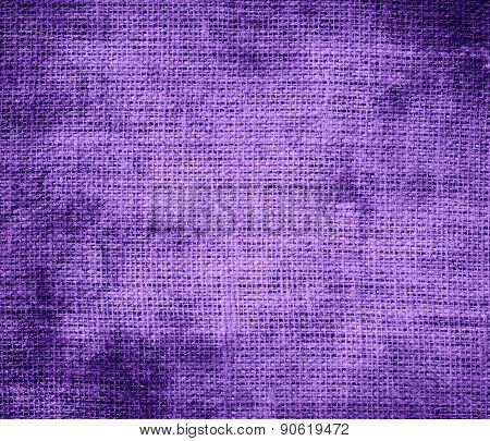 Grunge background of amethyst burlap texture