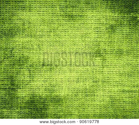 Grunge background of android green burlap texture