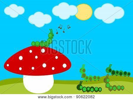 caterpillar concert on the red mushroom cartoon illustration
