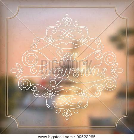 Vector Illustration Of Blurred Background For Design. Sea Landscape. Travel Design. Travel Label.