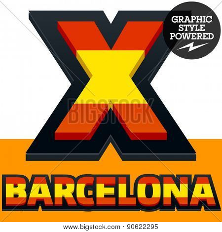Vector set of Spain flag alphabet. File contains graphic styles available in Illustrator. Letter X