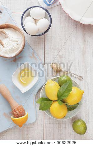 Lemon lime icebox pie being prepared