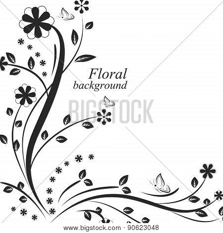 Floral vector background with flowers and butterflies