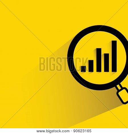 magnifier glass and bar graph