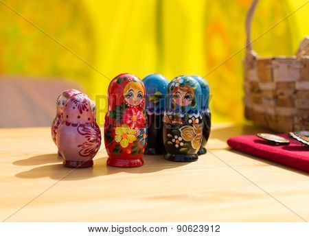Row Of Russian Desting Matrushka Dolls