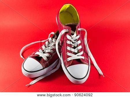Unworn Red Canvas Style Trainers