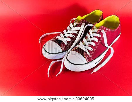 Red Canvas Trainers And Laces