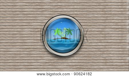 Abstract Ship Porthole Overlooking The Palm-tree Island And The Sea