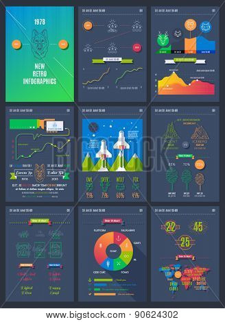 Vector illustrations of modern infographics. Big set of info graphics elements in modern flat business style.  Use in presentation, advertising, marketing, website, flyer, corporate report etc.