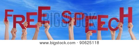 Hands Holding Red Word Free Speech Blue Sky
