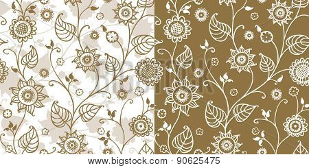 floral seamless pattern with stylized sunflowers.