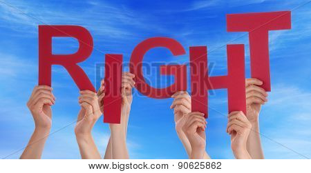 Many People Hands Hold Red Word Respect Blue Sky