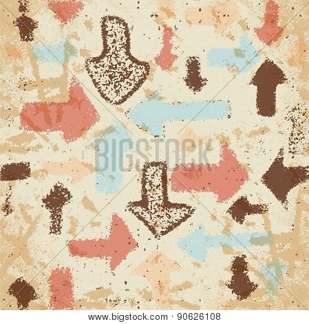 Abstract seamless pattern of arrows on a faded paper shabby vint