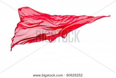 abstract piece of red fabric flying, isolated on white, design element