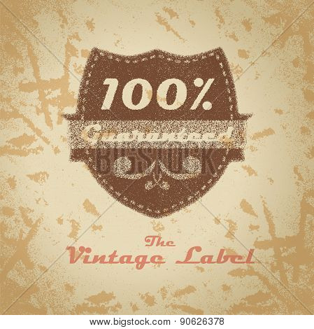 Vintage shopping heraldic label on faded paper