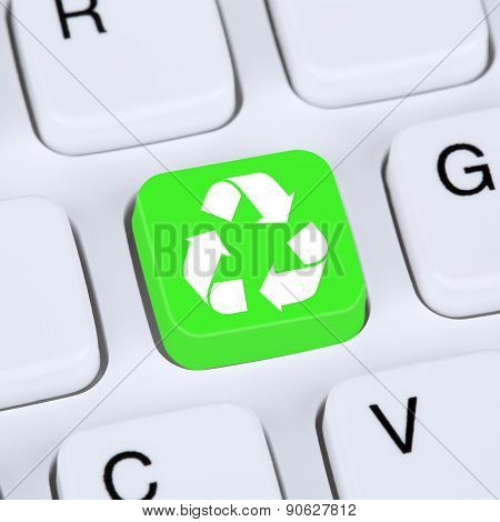Internet Concept Recycling Button For Recycle Natural Conservation On Computer